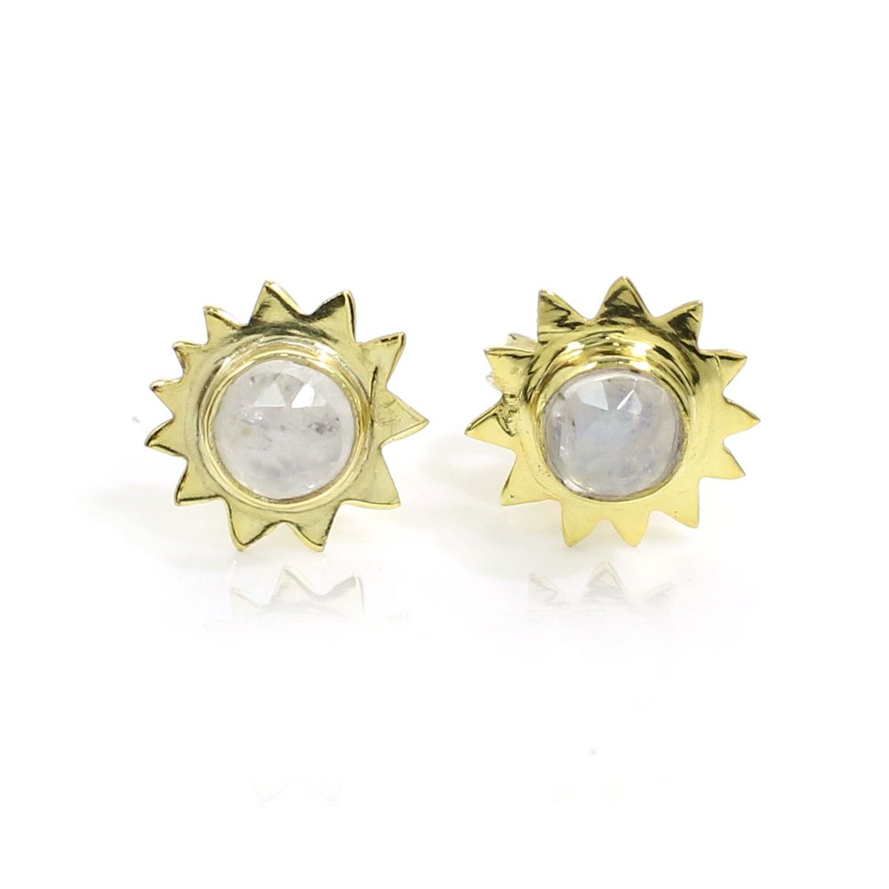 Natural Rainbow Moonstone Sterling Silver Gold Plated Stud Earrings