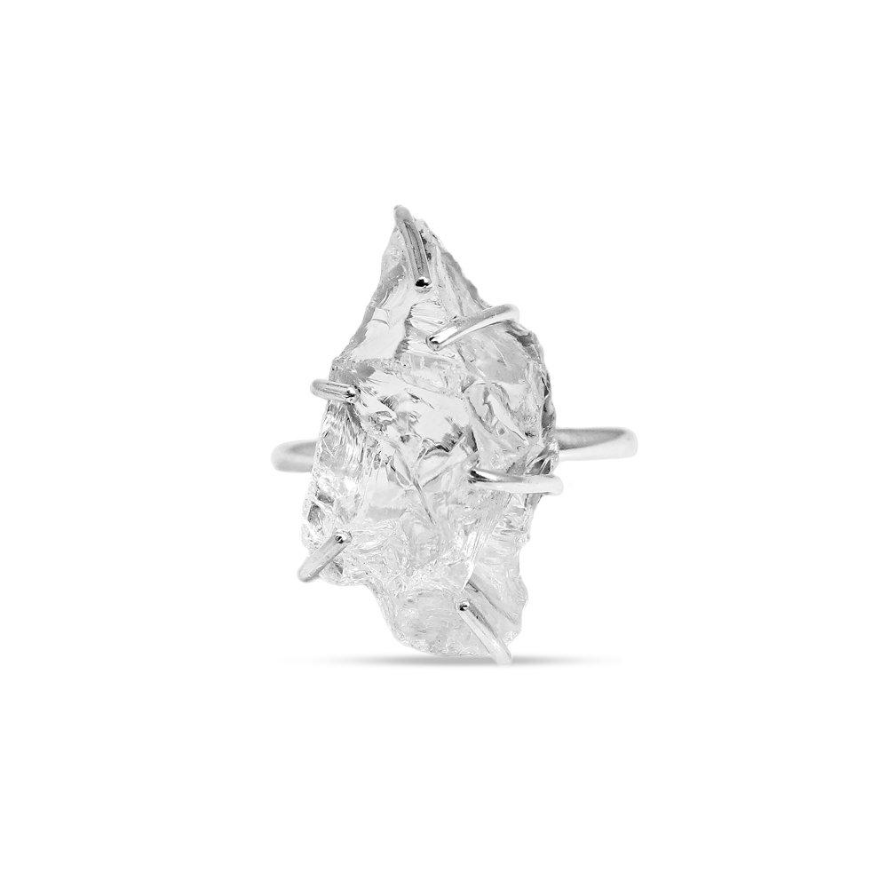Natural Raw Crystal Quartz Silver Prong Set Ring