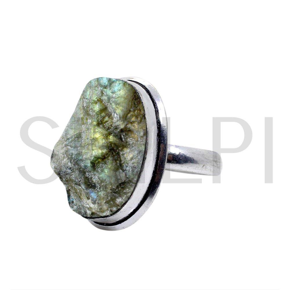 Natural Raw Labradorite Oxidized 925 Sterling Silver Handmade Ring