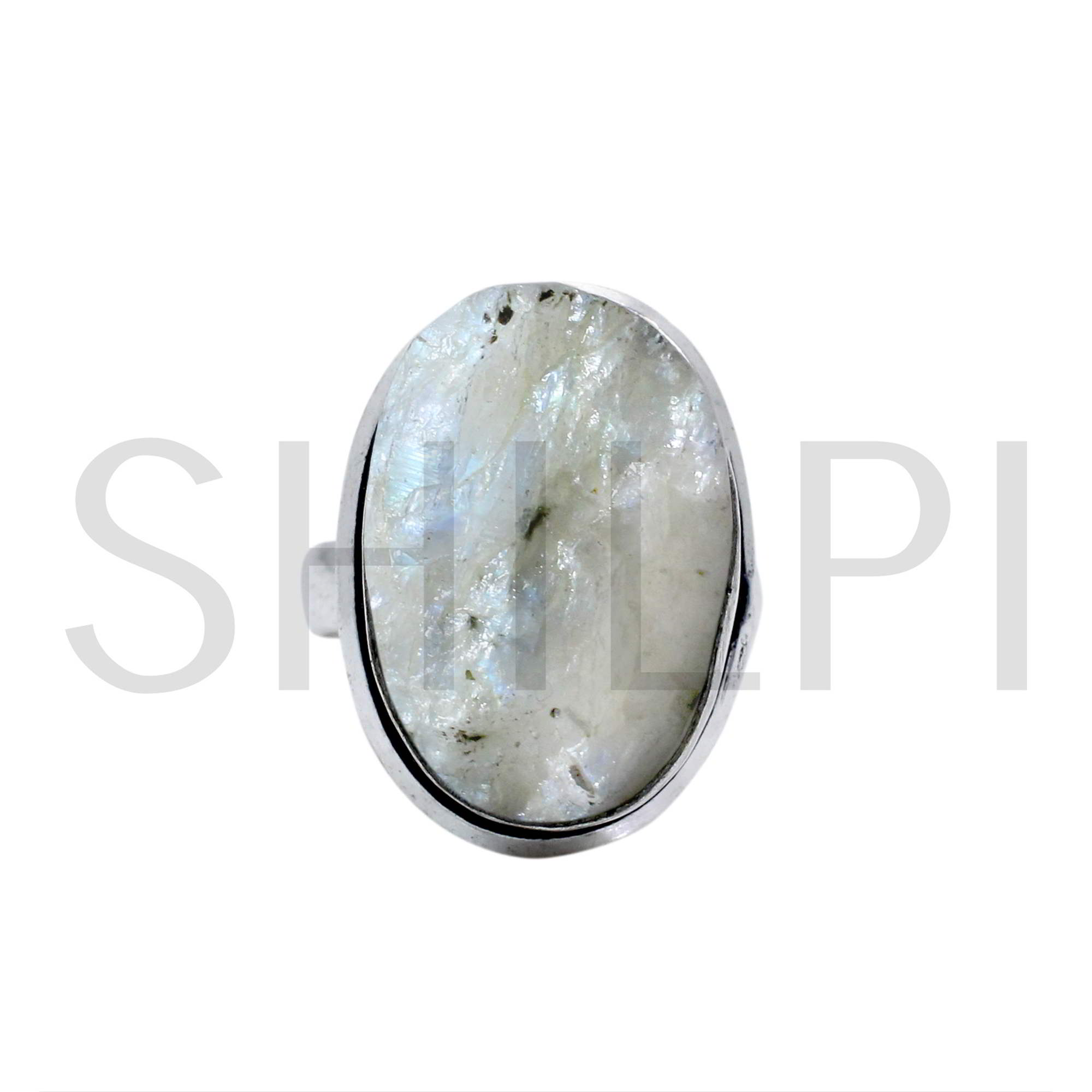 Natural Raw Rainbow Moonstone Oxidized 925 Sterling Silver Bezel Set Ring
