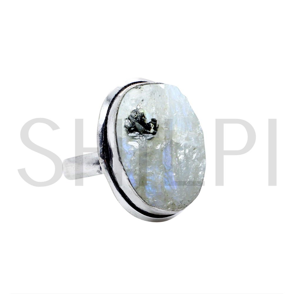 Natural Raw Rainbow Moonstone Oxidized 925 Sterling Silver Ring