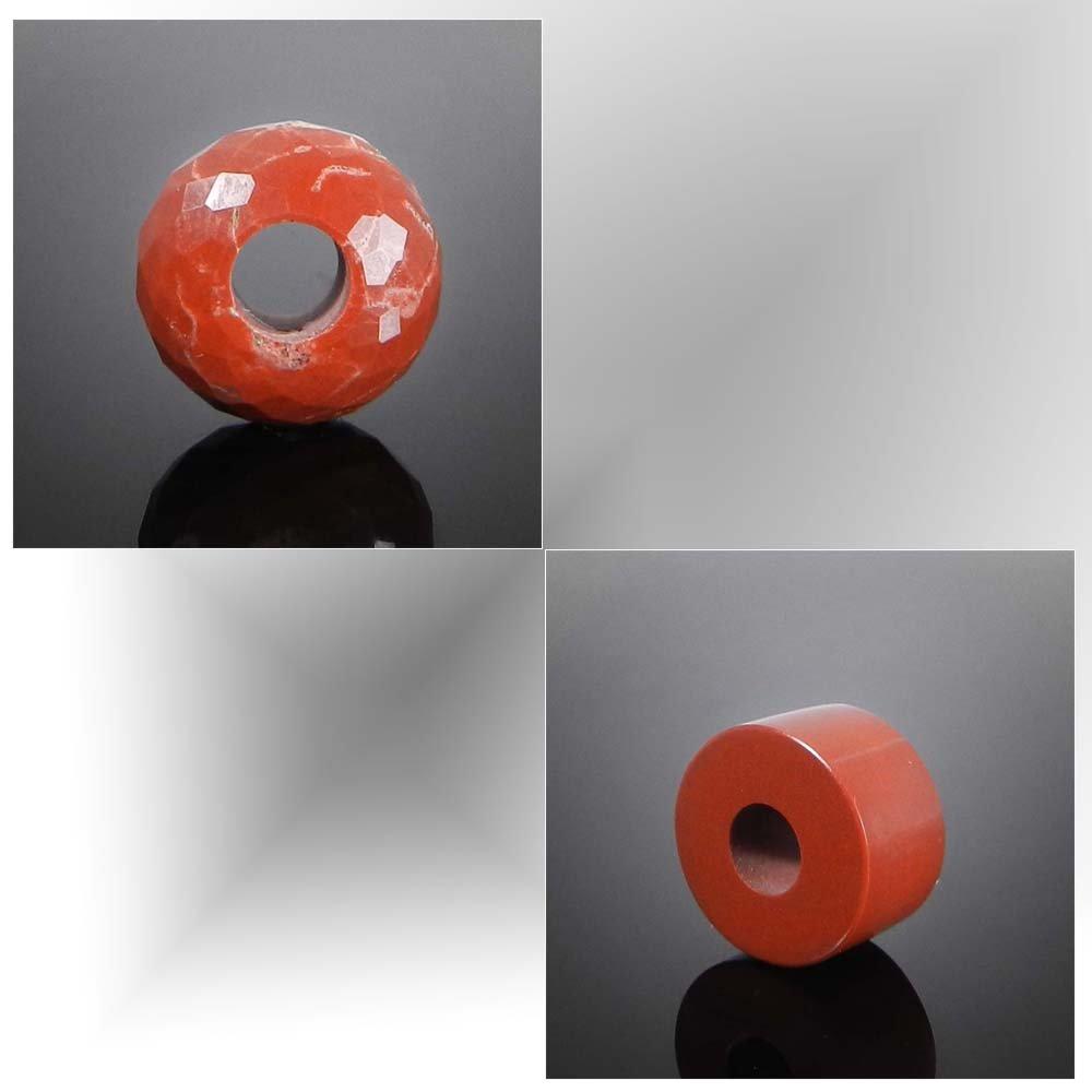 Natural Red jasper big hole gemstone beads for bracelet making
