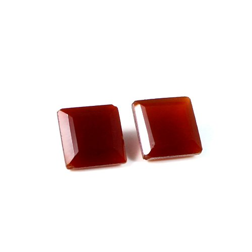 Natural Red Onyx Gemstone 10x10mm 8.70 Cts 1 Pair Square Faceted Loose Gemstone