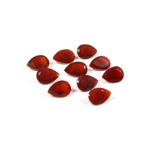 Natural Red Onyx Gemstone Pear Faceted 10 Pcs 9x6mm 11.70 Cts Loose Gemstone