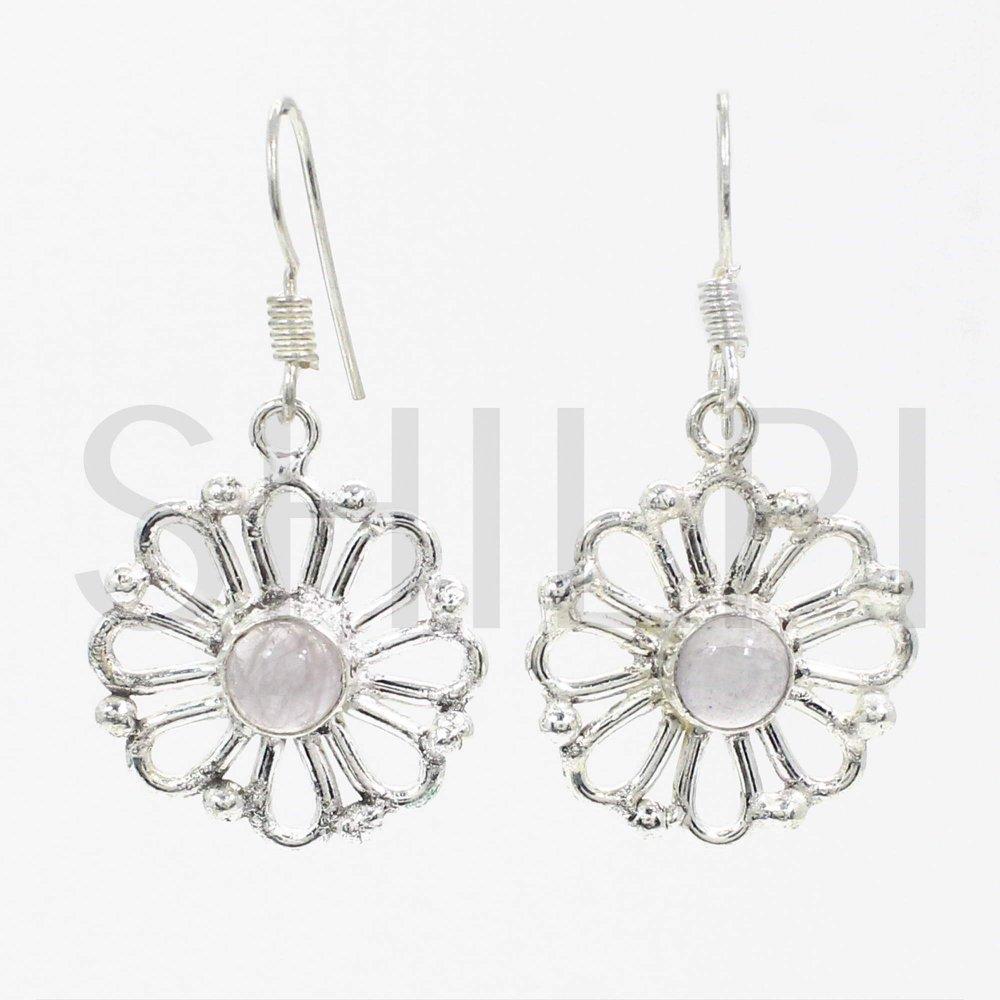 Natural Rose Quartz  German Silver Designer Dangle Earrings