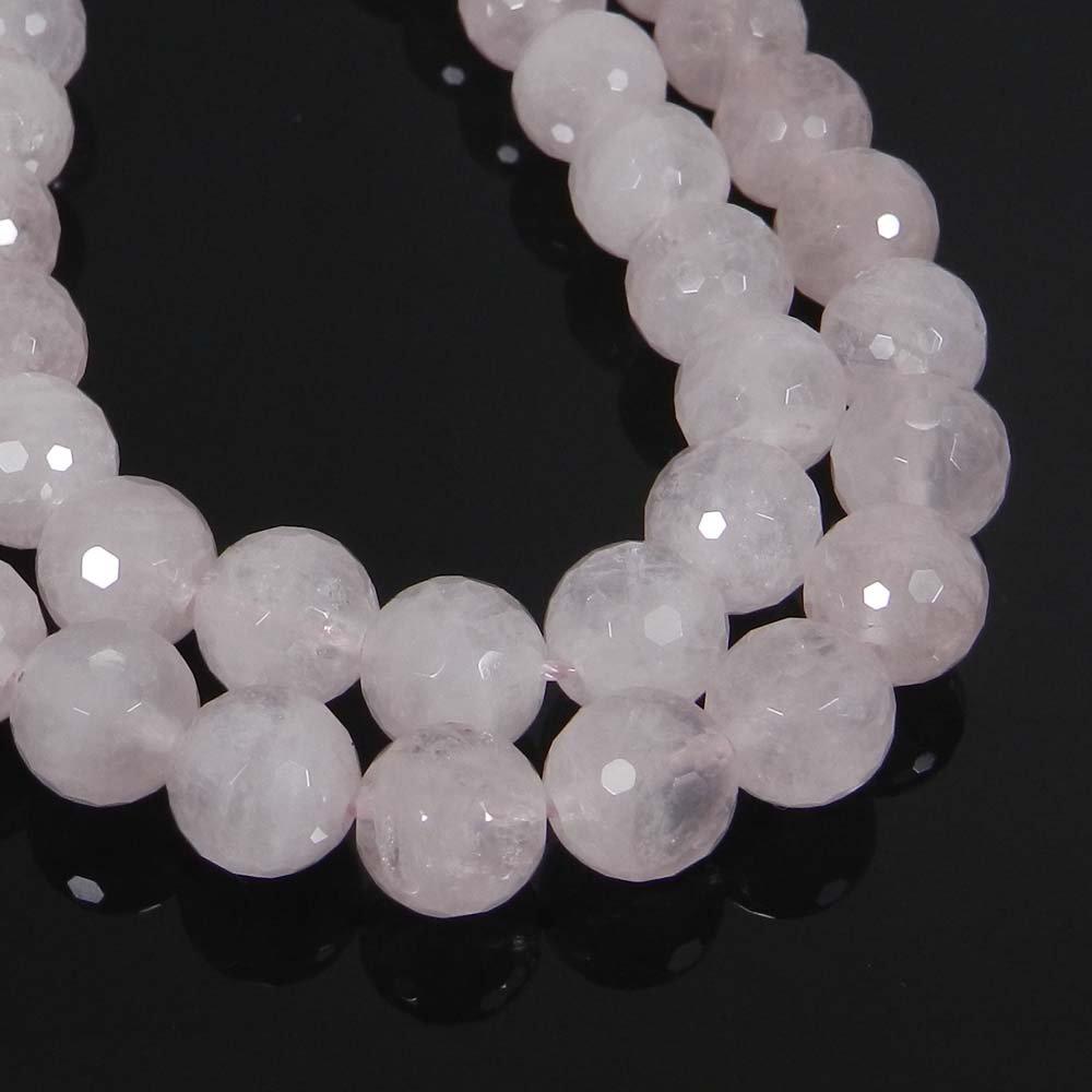 Natural Rose Quartz 10mm Round Facet Gemstone Strand Beads