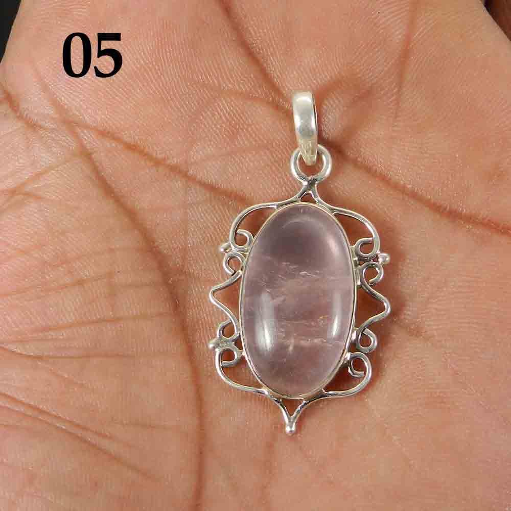 Natural Rose Quartz 925 Sterling Silver Designer Bezel Set Pendant