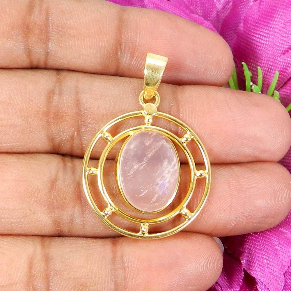 Natural Rose Quartz Designer Silver Gold Plated Bezel Set Pendant