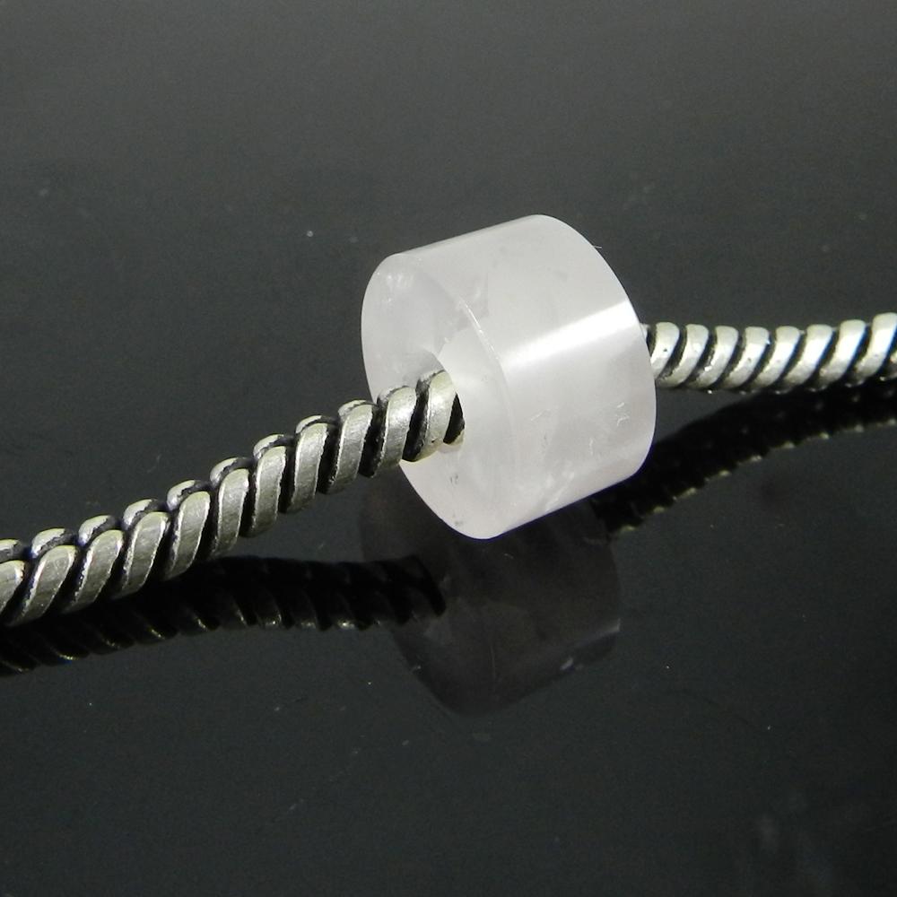 Natural Rose Quartz Flat Smooth Big Hole Beads For Bracelet Making
