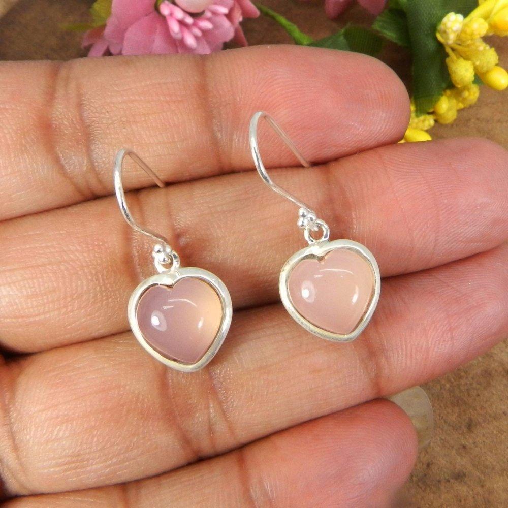 Natural Rose Quartz Heart 925 Sterling Silver Bezel Set Earring