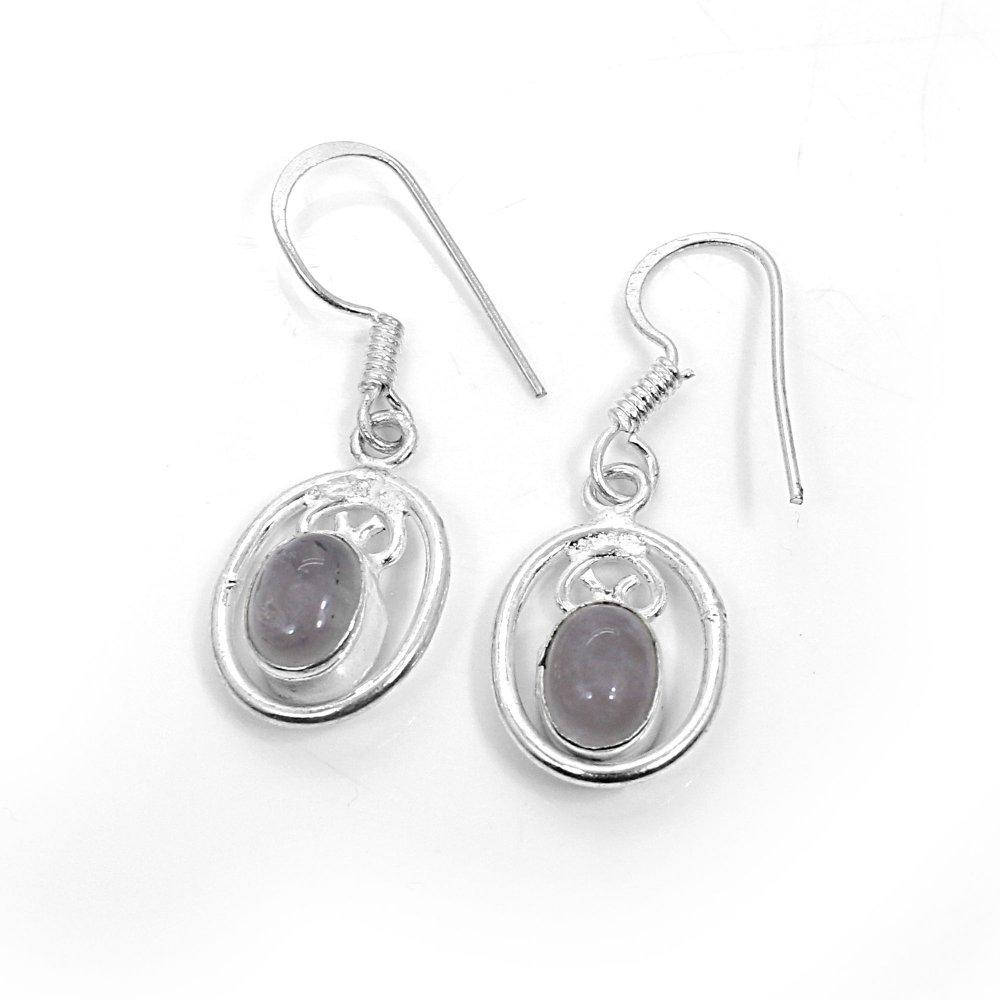 Natural Rose Quartz Silver Dangle Earrings