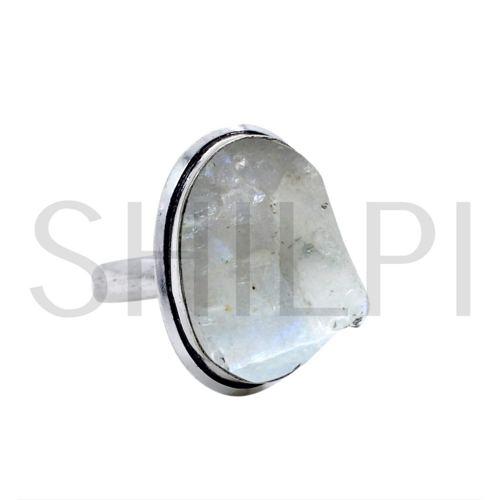 Natural Rough Rainbow Moonstone Oxidized 925 Sterling Silver Handmade Ring