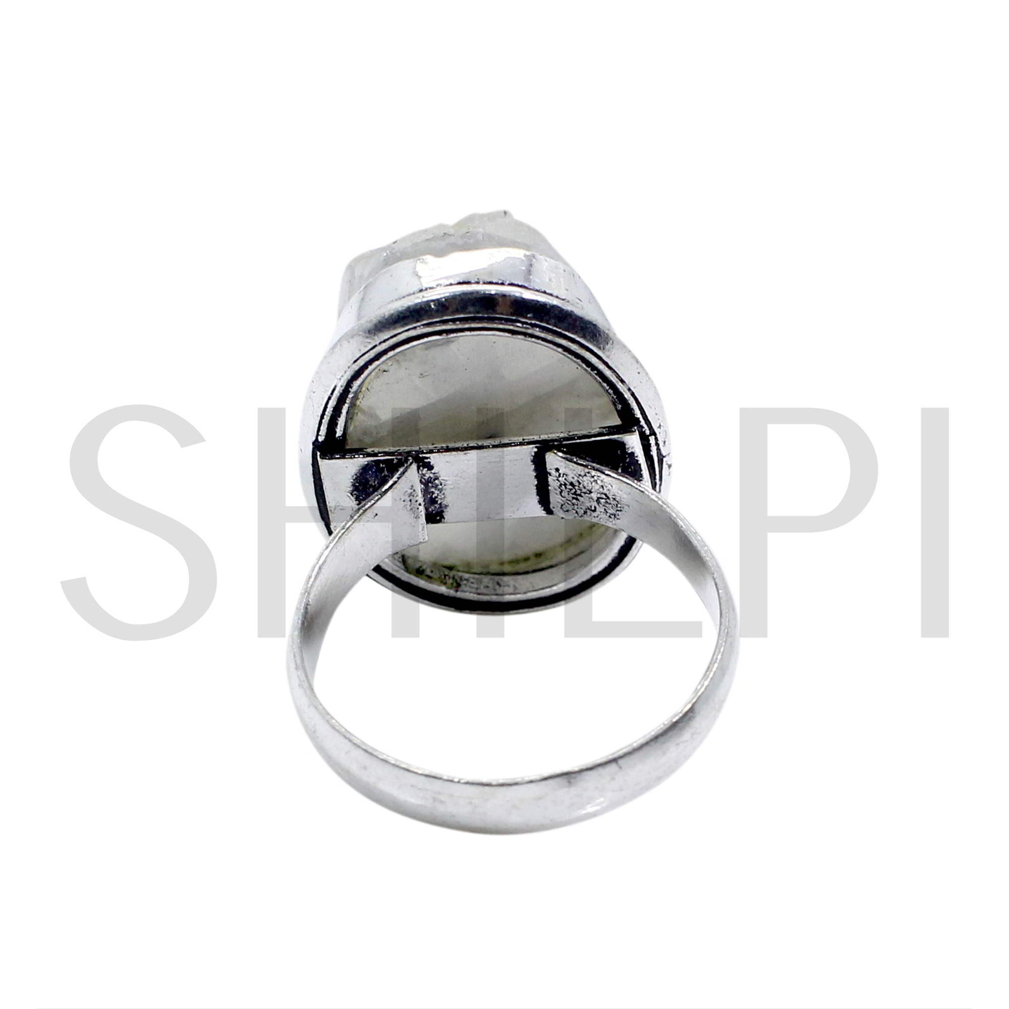 Natural Rough Rainbow Moonstone Oxidized 925 Sterling Silver Ring