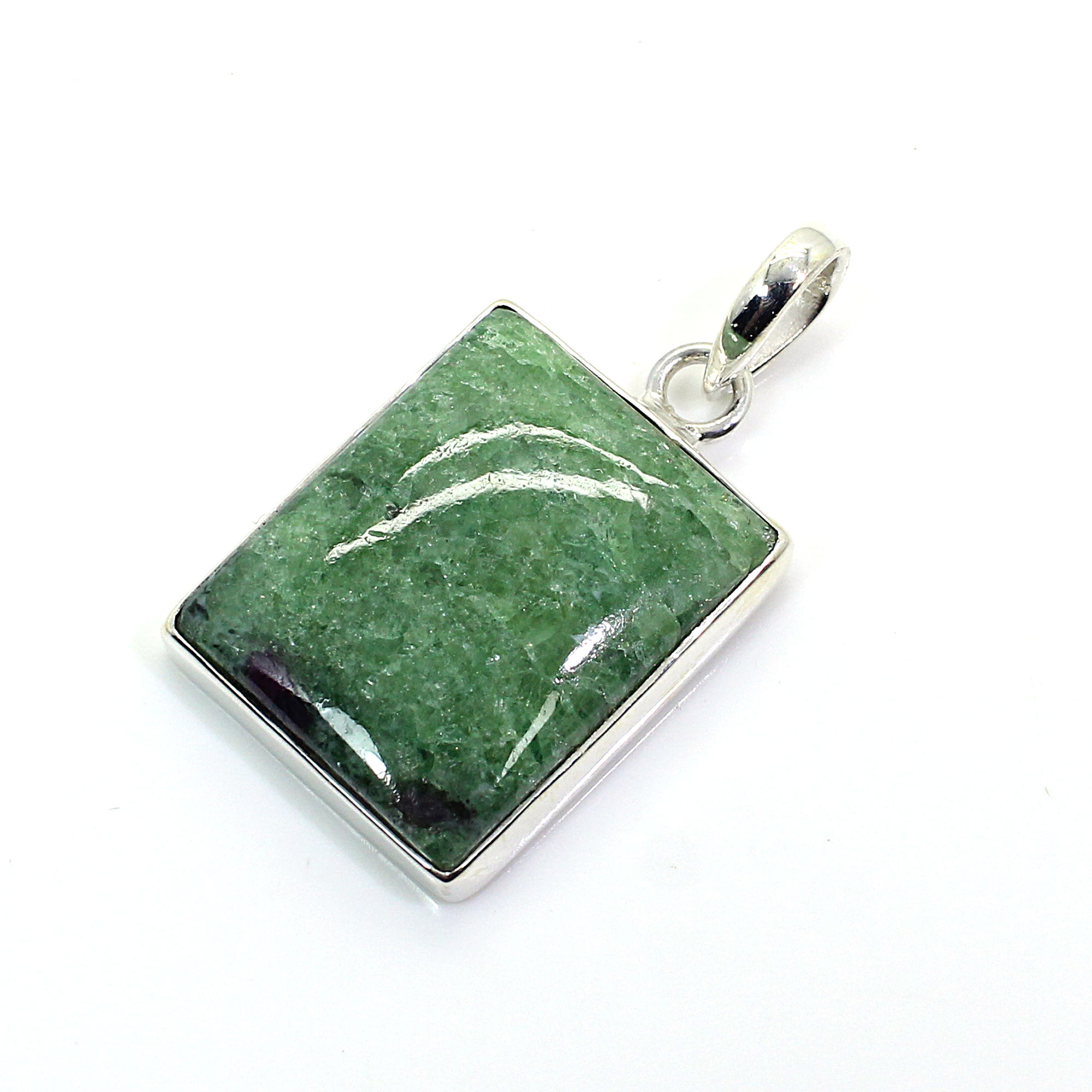 Natural Ruby Zosite Sterling Silver Pendant