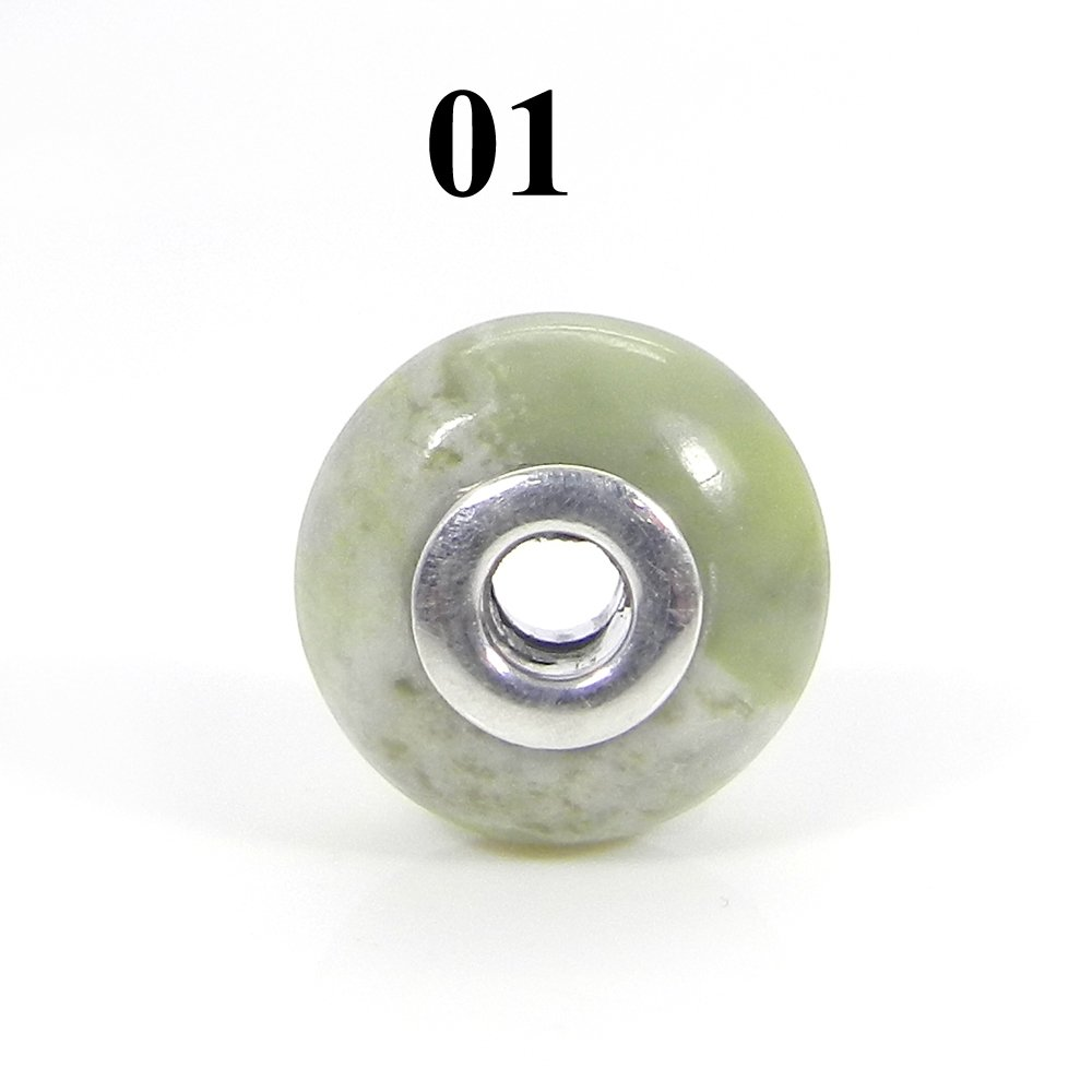 Natural Serpentine Big Hole Silver Core Beads For Jewelry Making