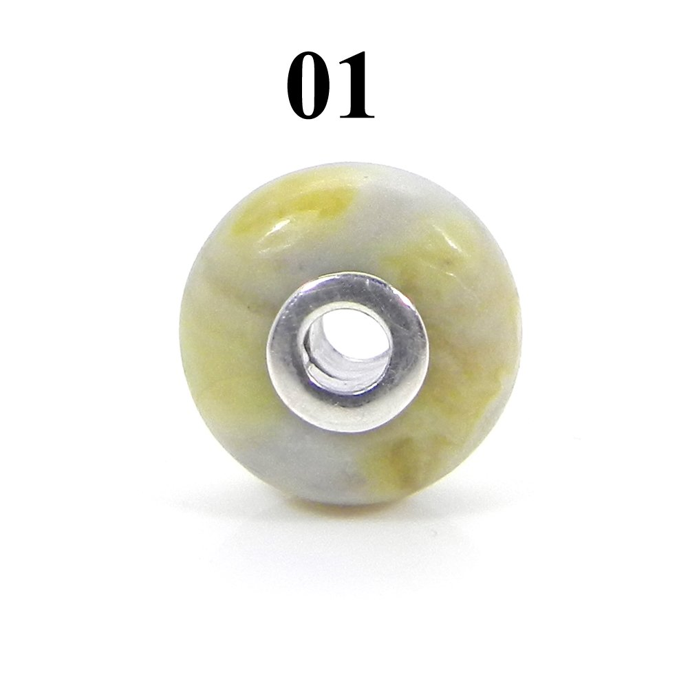 Natural Serpentine Big Hole Silver Core Beads For Necklace Making