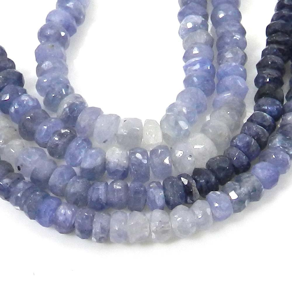 Natural Shaded Sapphire 4mm Roundel Facet Gemstone Strand Beads