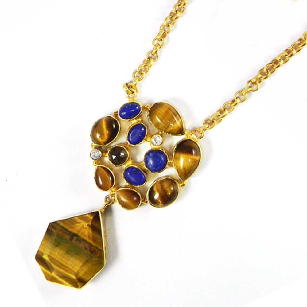 Natural Tiger Eye,Lapis,CZ 18k Gold Plated Long Chain Hadly Necklace
