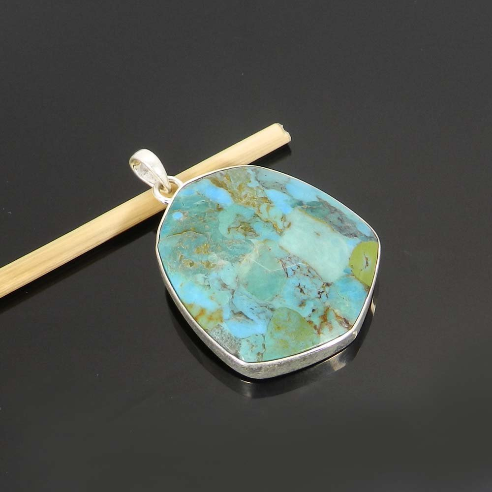Natural USA Turquoise 925 Sterling Silver Bezel Set Pendant