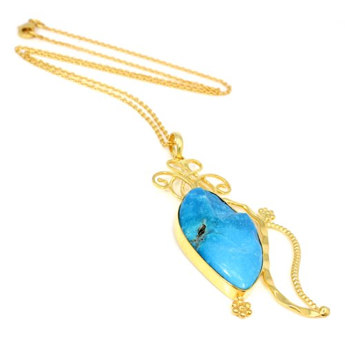 Natural USA Turquoise Gemstone Necklace Gold Plated Chain Necklace Women Statement Necklace