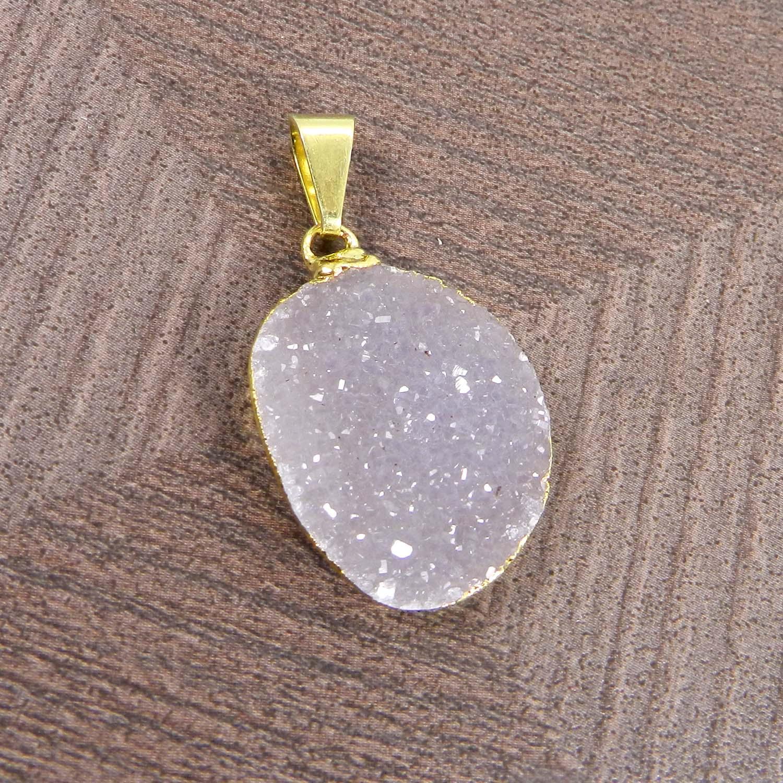 Natural White Druzy Gold Electroplated Designer Pendant