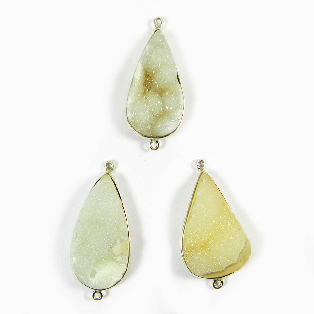 Natural White Druzy Pear 37x18mm 925 Sterling Silver Double Loop Connector