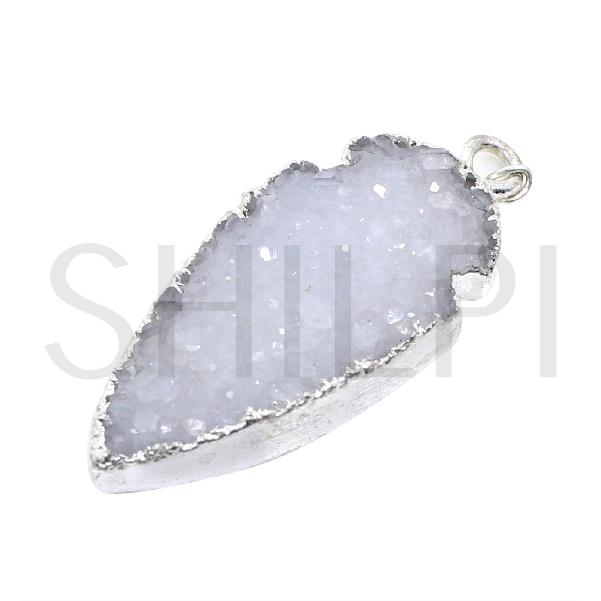 Natural White Druzy Silver Single Loop Connector