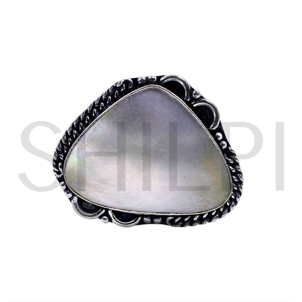 Natural White Mother Of Pearl Oxidized 925 Sterling Silver Handmade Ring