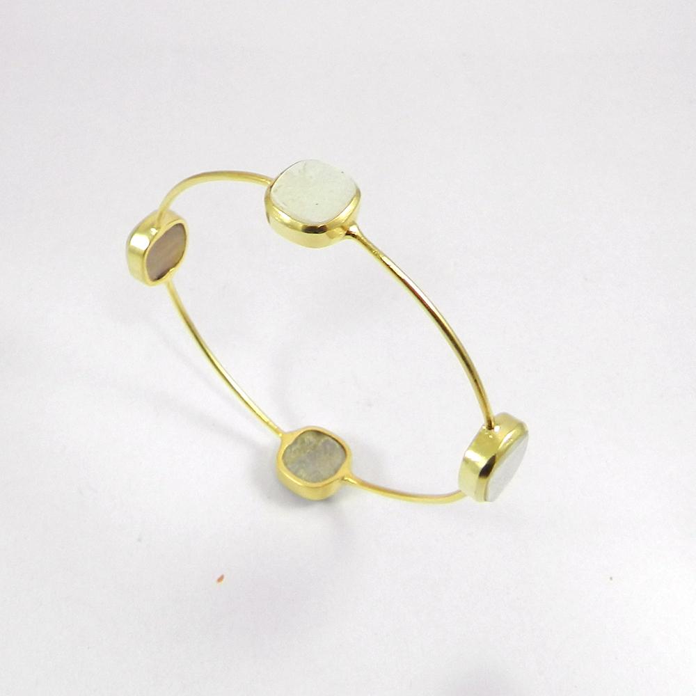 Natural White Pearl Gold Plated Designer Bezel Bangle