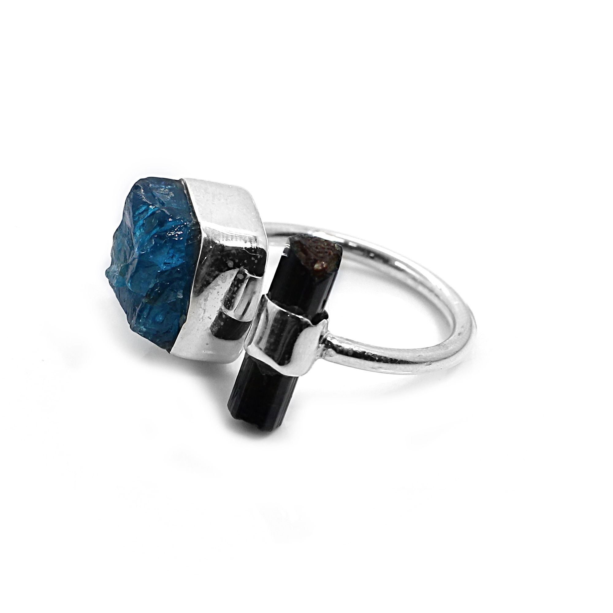 Neon Apatite and Green Tourmaline Rough Sterling Silver Adjustable Ring