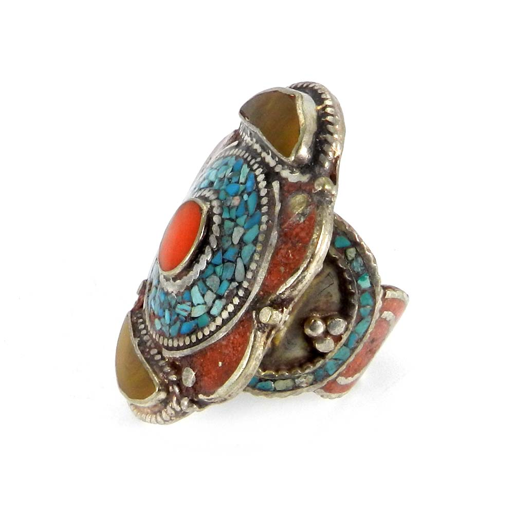 Nepalese Designer Coral & Turquoise Inlay German Silver Adjustable Ring