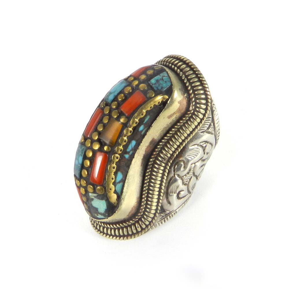 Nepalese Designer Coral & Turquoise Inlay German Silver Ring