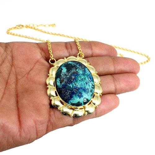 New Arrival Chrysoprase Gemstone Pendant Necklace Gold Plated Necklace Statement Necklace