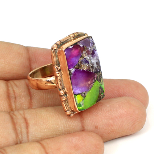 New Arrival Mohave Copper Gaspeite Gemstone Ring Designer Rose Gold Plated Huge Ring Mens Gypsy Stylish Rings Signature Rings