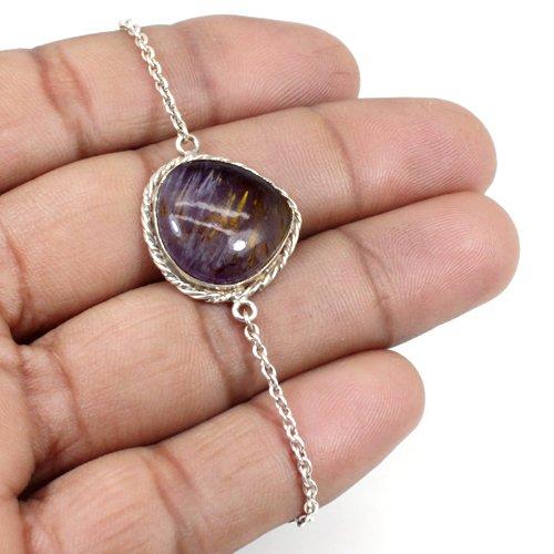 New Arrival Natural Cacoxenite Gemstone Bracelet Solid 925 Sterling Silver Bracelet Designer Women Statement Bracelet