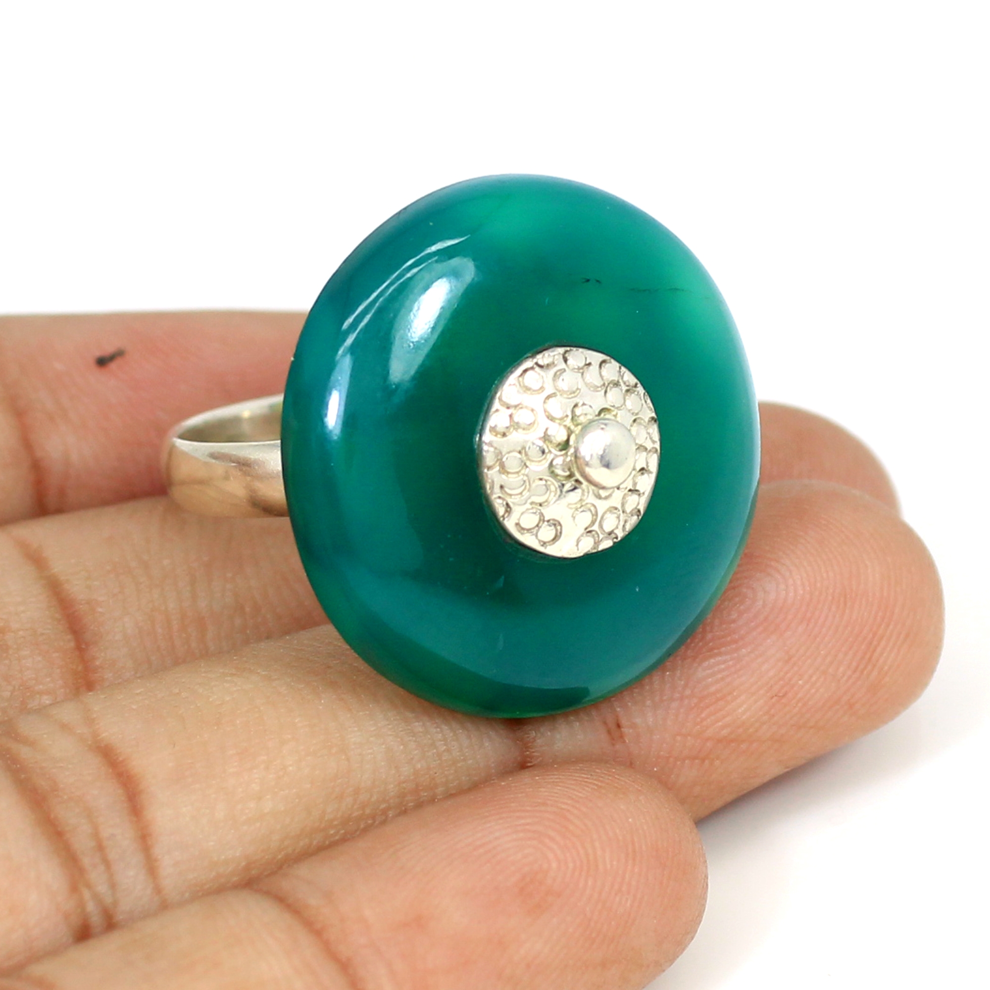 New Arrival Natural Green Onyx Gemstone Ring Two Tone Rings Solid 925 Sterling Silver Ring Designer Women Soliatire Wedding Ring