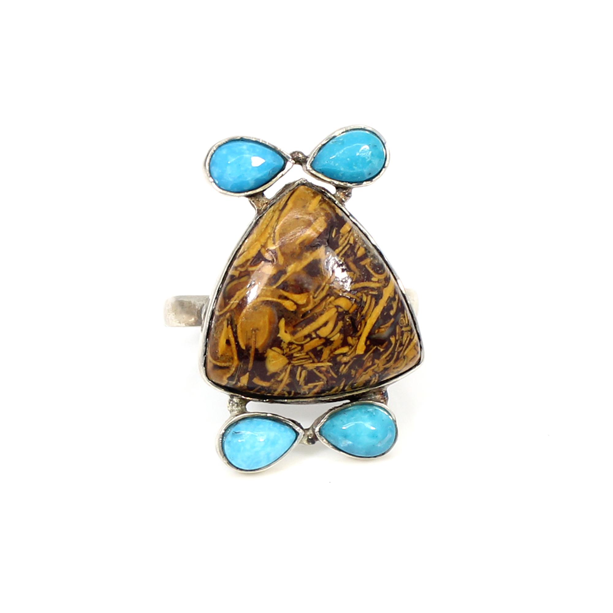 New Arrival Natural Mariam Jasper & Blue Turquoise Gemstone Ring Solid 925 Sterling Silver Ring Designer Huge Rings Gift For Him