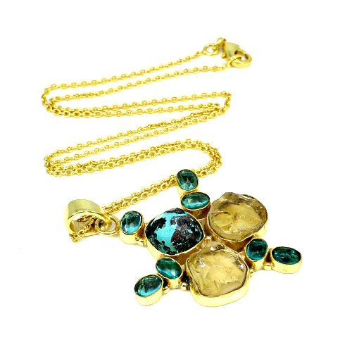 New Arrival Natural Multi Gemstone Necklace Bohemian Handmade Bezel Necklace Simple Statement Pendant Chain Gypsy Gift For Her
