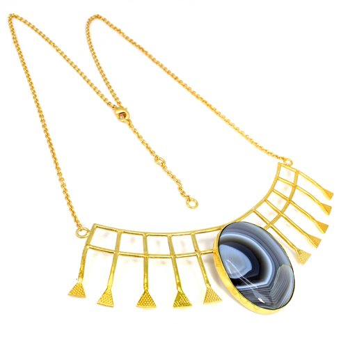 New Collection Botswana Agate Gemstone Necklace Designer Gold Plated Necklace Bridal Necklace
