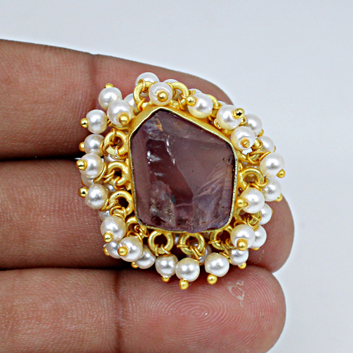 New Collection Natural Rough Amethyst Gemstone Rings Tiny Pearl Designer Ring Women Rings Adjustable Ring Prominent Ring