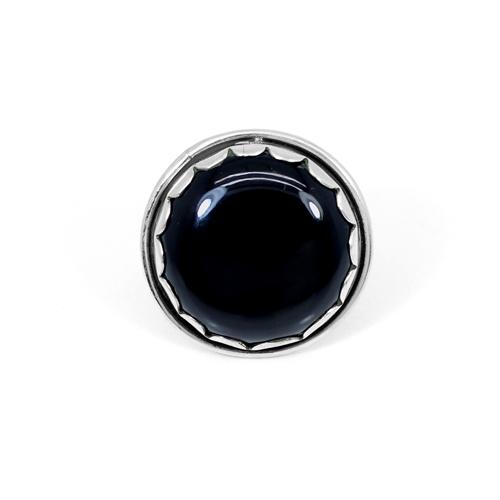 New Design 925 Sterling Silver Ring Natural Setting Ring Round Cabochon Women Ring Black Onyx Gemstone Rings Designer Rings