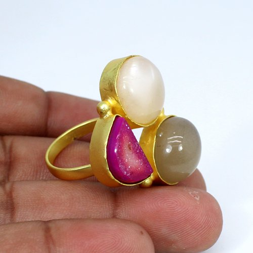 New Designer Collection Multi Gemstone Ring Brass Adjustable Ring Huge Gold Plated Rings Womens Wedding Statement Rings