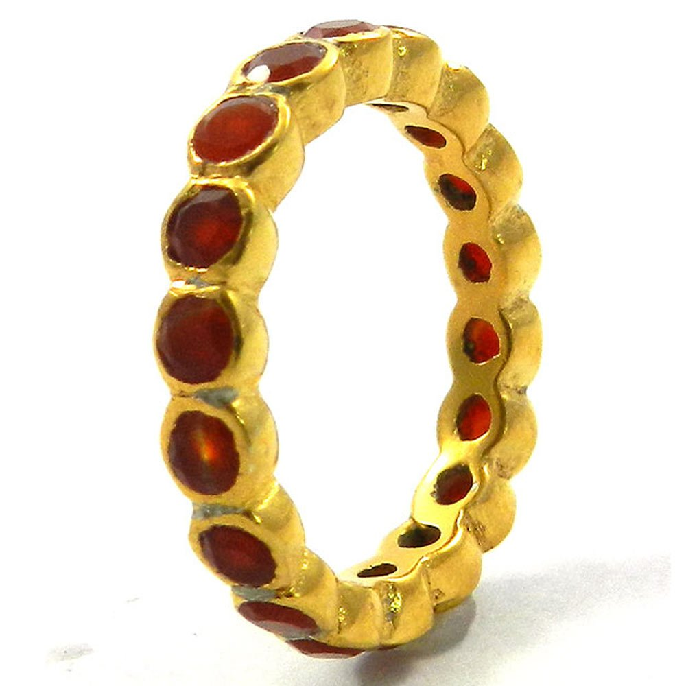 New Designer Ring Solid 925 Sterling Silver Ring Natural Red Onyx Gemstone Ring Gold Plated Eternity Ring