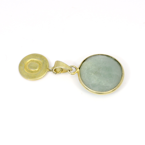 New Fashion Personalized O Letter Pendant Natural Milky Aquamarine Gemstone Pendant Brass Gold Plated Statement Pendant