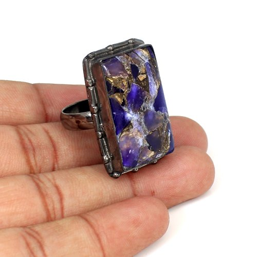 New Fashionable Jewelry Natural Mohave Amethyst Ring Black Ruthenium Ring Mens Designer Huge Rings Anniversary Gift For Him