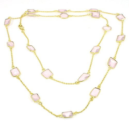 New High Quality Rose Quartz Gemstone Necklace Gold Plated Chain Necklace Women Necklace