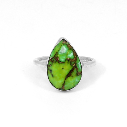New Romantic Heart Ring Solid 925 Sterling Silver Rings Natural Green Copper Turquoise Gemstone Ring Women Delicate Ring