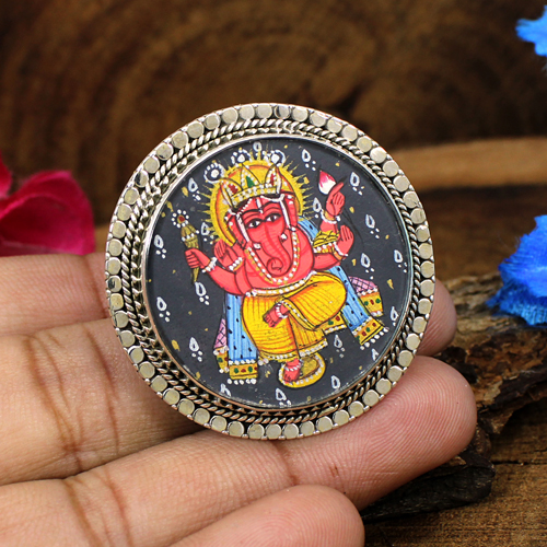 Newest Collection Handmade Religious Ring Lord Ganesh Ring Ganesha Hand Painting Ring Miniature Ring Solid 925 Sterling Silver Ring Circular Adjustable Ring