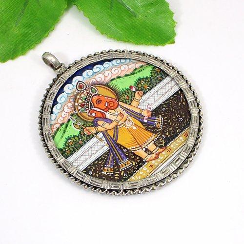 Newest Collection Lord Ganesha Painting Pendant Handmade Spiritual Pendant Circular Oxidized Jewelry Bohemian Religious Pendant