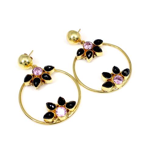 Newest Designer Collection Black Onyx & Pink Cz Gemstone Earring Roundel Designer Vermeil Dangle Women Wedding Hanging Drops